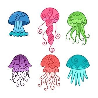 Ensemble de méduses colorées de dessin animé.