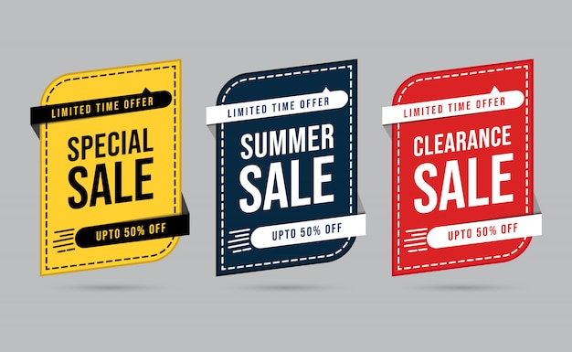 Ensemble de méga vente jaune noir et rouge offre spéciale à durée limitée bannière de réduction