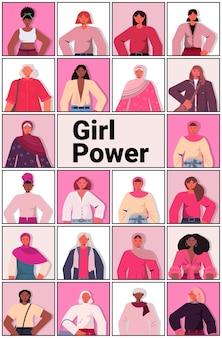 Ensemble, mélange, race, filles, avatars, émancipation, mouvement, femme, pouvoir, union, de, féministes, concept, portrait vertical, vecteur, illustration