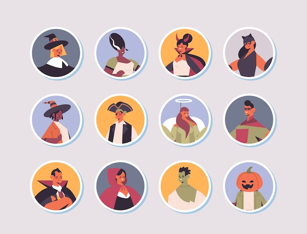 Ensemble, mélanger, race, gens, dans, différents, costumes, heureux, halloween, fête, célébration, concept, hommes, femmes, avatars, collection, plat, portrait, vecteur, illustration