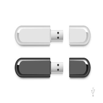 Ensemble de mémoire de clé usb flash stick isolé
