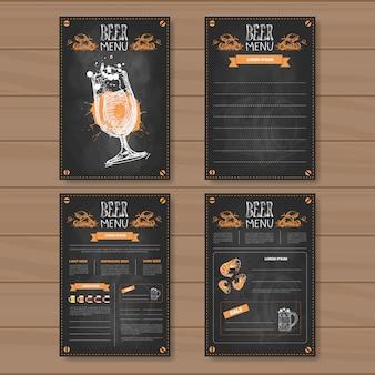 Ensemble de menu de bière design pour restaurant café pub chalked