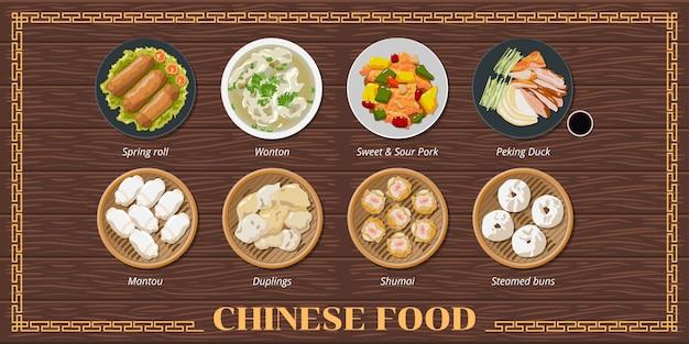 Ensemble de menu de cuisine chinoise
