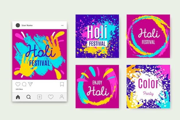 Ensemble de messages instagram du festival holi