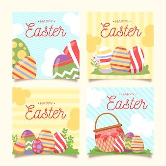 Ensemble de messages instagram illustrés le jour de pâques