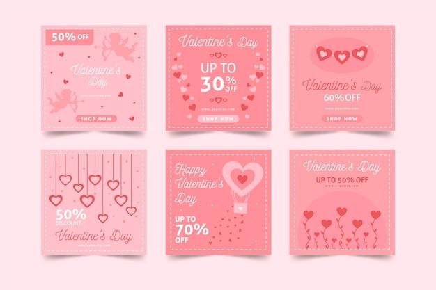 Ensemble de messages instagram pour la vente de la saint-valentin
