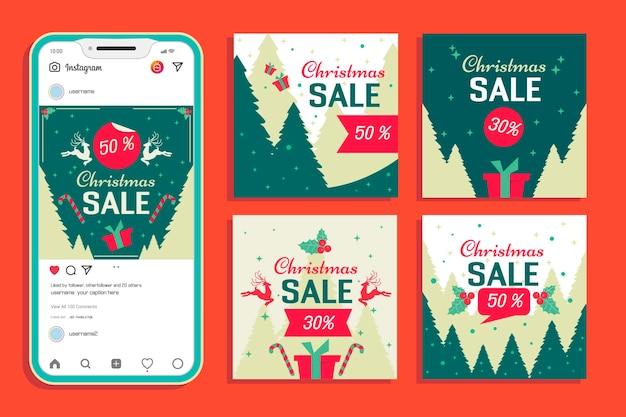 Ensemble de messages instagram de vente de noël