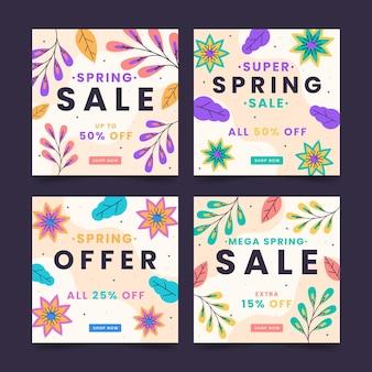Ensemble de messages instagram de vente de printemps plat