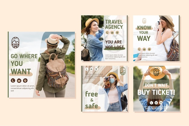 Ensemble de messages instagram de vente de voyage