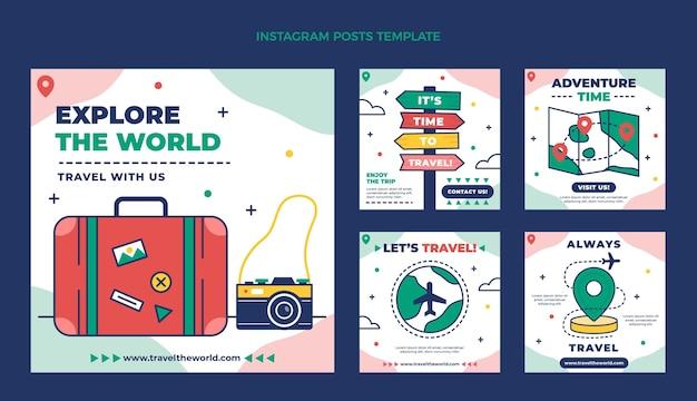 Ensemble de messages instagram de voyage à plat