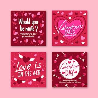 Ensemble de messages de vente de la saint-valentin