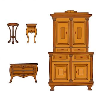 Ensemble de meubles anciens - placard, table de chevet et bureau isolé sur fond blanc. lignes de dessin, style d'esquisse