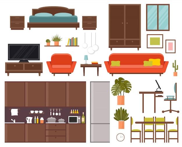 Ensemble de meubles. chambre, cuisine, salle à manger