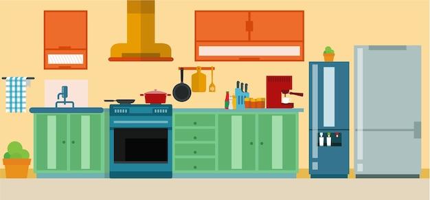 Ensemble de meubles dans l'illustration de la cuisine