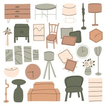 Ensemble de meubles dans un style minimaliste pour autocollants. vecteur de prime