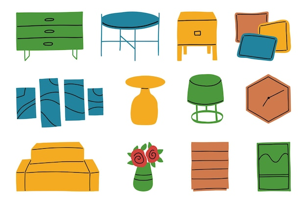 Ensemble de meubles dans un style minimaliste pour autocollants