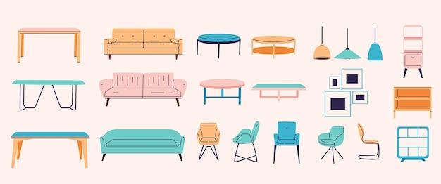 Ensemble de meubles différents dans un design plat