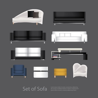 Ensemble de meubles d'illustration vectorielle de canapé
