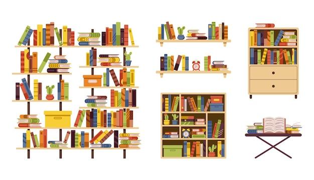 Un ensemble de meubles avec des livres pour la bibliothèque à la maison et le bureau