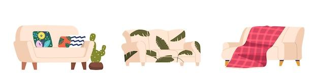 Ensemble de meubles de maison ou de bureau, conception différente de canapé, deux ou trois canapés et canapé de style classique ou moderne avec revêtement en cuir ou en tissu, oreillers à carreaux et moelleux. illustration vectorielle de dessin animé