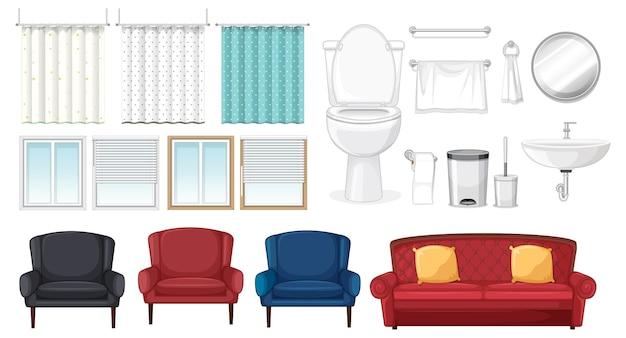 Ensemble de meubles pour la décoration intérieure sur fond blanc