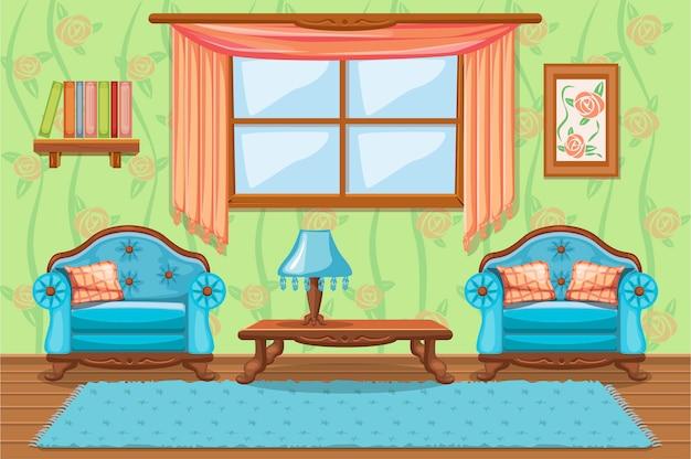 Ensemble de meubles rembourrés de dessin animé, salon