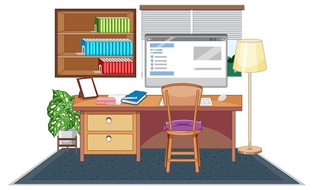 Ensemble de meubles de salle de travail sur fond blanc
