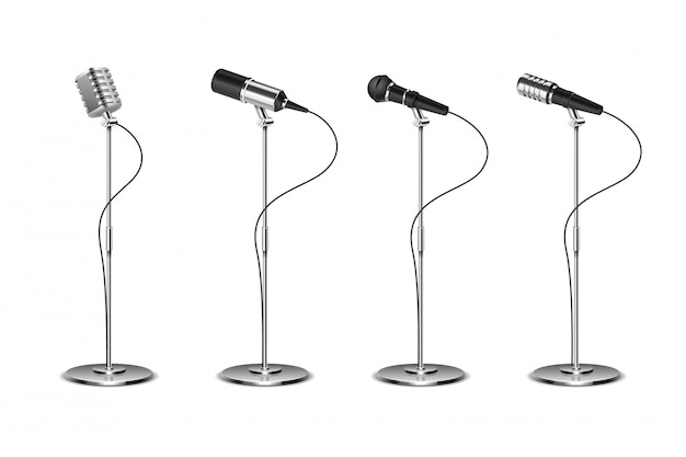 Ensemble de microphones. équipement audio de microphones sur pied. concept et collection de micros de musique karaoké isolés