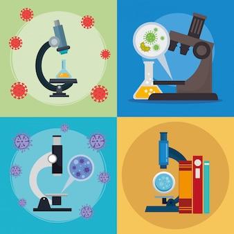 Ensemble de microscopes avec des particules covid 19 et des icônes médicales