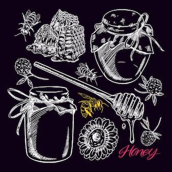 Ensemble de miel mignon. pots de miel, abeilles, nid d'abeille. illustration dessinée à la main