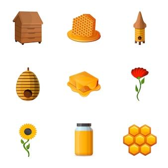 Ensemble de miel, style cartoon
