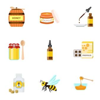Ensemble de miel, style plat