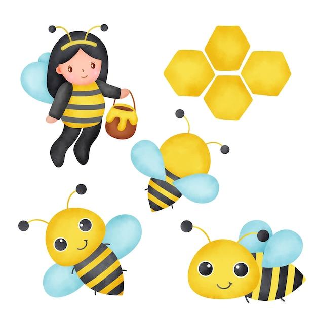 Ensemble mignon d'abeille et de miel d'aquarelle
