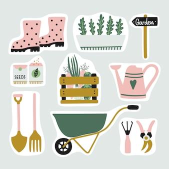 Ensemble mignon d'autocollants d'éléments de jardin.