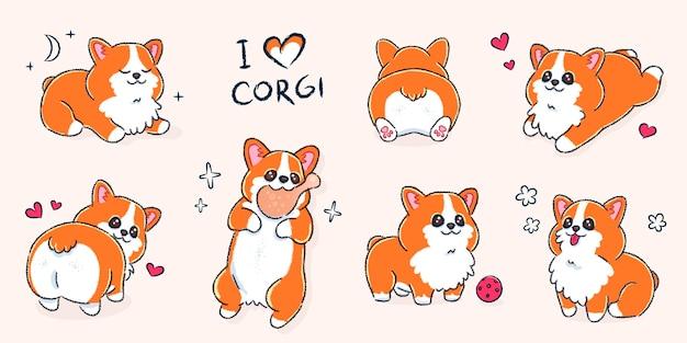 Ensemble de mignon chien corgi gallois dans différentes poses
