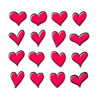 Ensemble mignon de coeurs de couleur rouge de différentes formes isolées