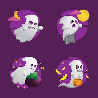 Ensemble mignon de collection de fantômes d'halloween
