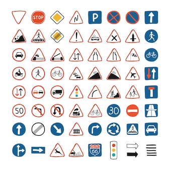 Ensemble mignon avec la collection de panneaux de signalisation et de feux de signalisation