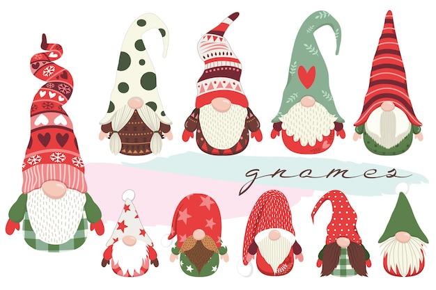 Ensemble mignon de collections de petits gnomes de noël