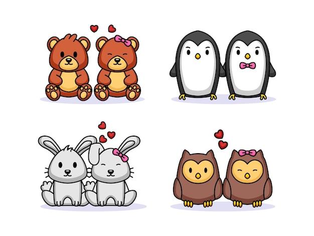 Ensemble, de, mignon, couple, animal, saint-valentin