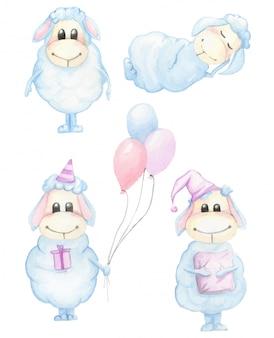 Ensemble de mignon dessin animé bleu personnage agneau dessiné à la main illustration aquarelle isolé