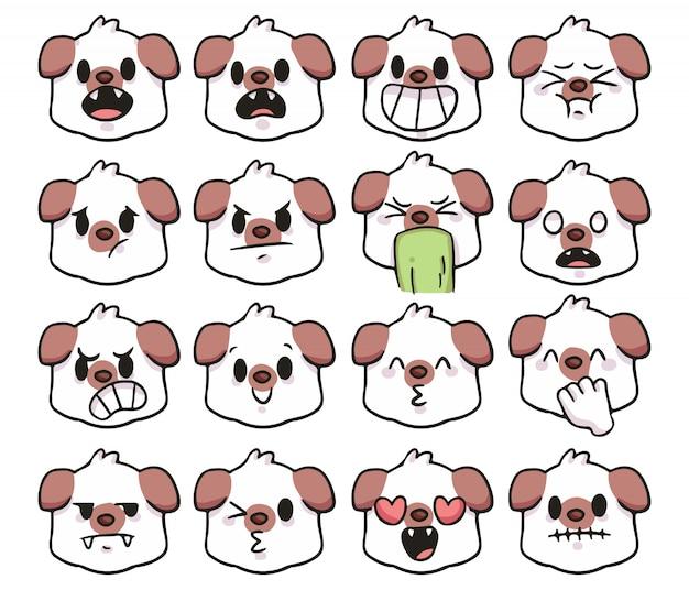Ensemble, de, mignon, dessin animé, chien, emoji