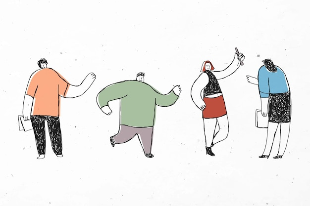 Ensemble mignon dessiné à la main des employés de bureau