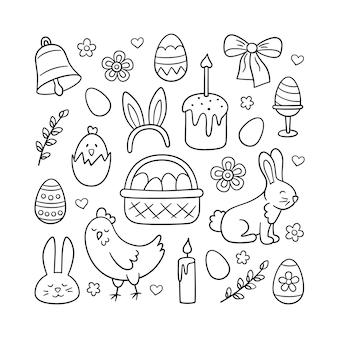 Ensemble mignon de doodle de pâques - lapin, panier, œufs de pâques, gâteaux, poulet, brindilles de saule et bougies.