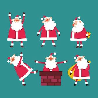Ensemble de mignon drôle de père noël avec des cadeaux dans la cheminée sur le backgroun bleu illustration vectorielle