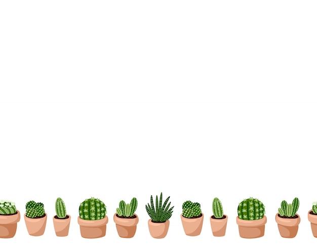 Ensemble mignon du modèle sans couture de plantes succulentes en pot hygge. lettre format lagom style scandinave décoration fond texture tuile. espace pour le texte
