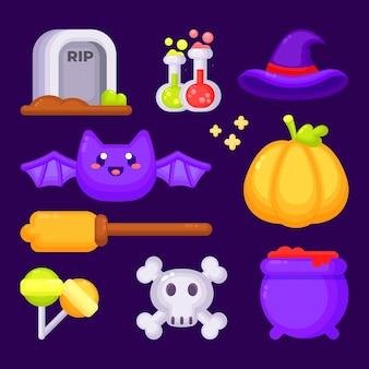 Ensemble mignon d'éléments halloween
