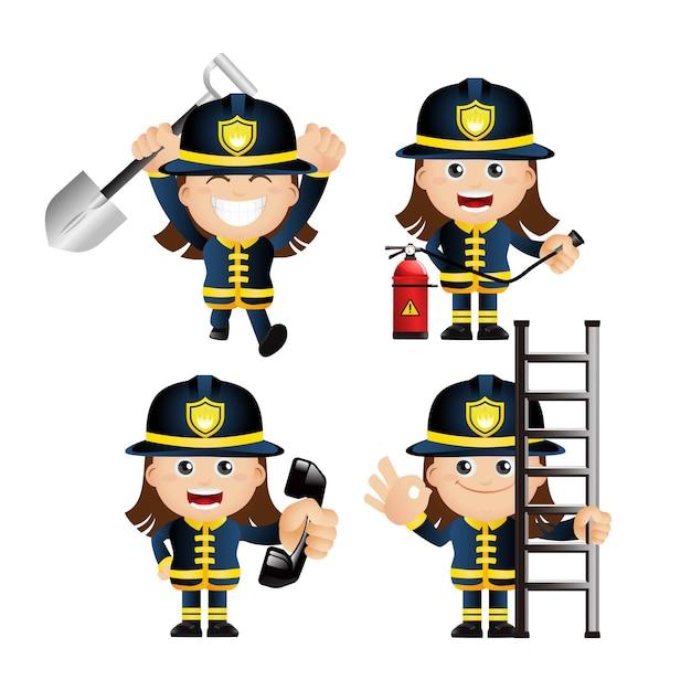 Ensemble mignon. ensemble de pompier.