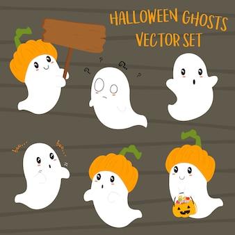 Ensemble mignon de fantômes d'halloween