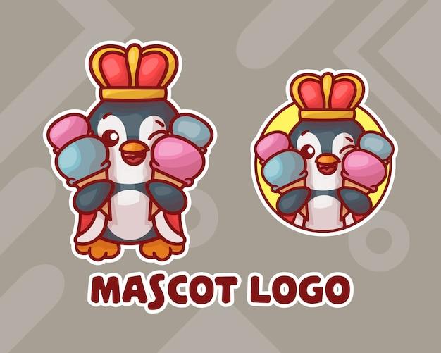 Ensemble, de, mignon, glace, roi pingouin, mascotte, logo